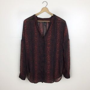 [Mango] Red & Black Snakeskin Printed Sheer Top